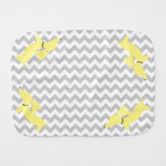 Yellow and Gray Dachshund Newborn Burp Cloth