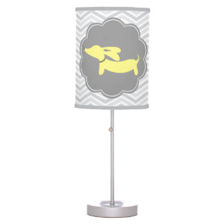 Yellow and Gray Dachshund Nursery Home Office Lamp