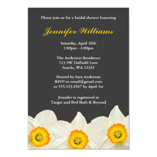 Yellow and Gray Daffodil Flower Bridal Shower Card