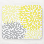 "Yellow and gray dahlia desk office accessory mouse pad<br><div class=""desc"">Need this design in another color?  Contact the designer for assistance.</div>"