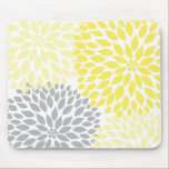 """Yellow and gray dahlia desk office accessory mouse pad<br><div class=""""desc"""">Need this design in another color?  Contact the designer for assistance.</div>"""