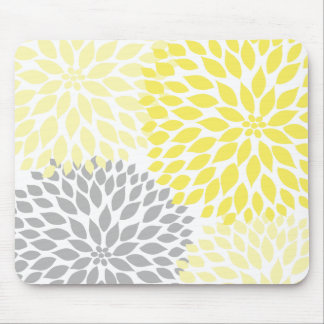 Yellow and gray dahlia desk office accessory mousepad