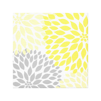 Yellow and Gray Dahlia Square Canvas Wall Art Canvas Print