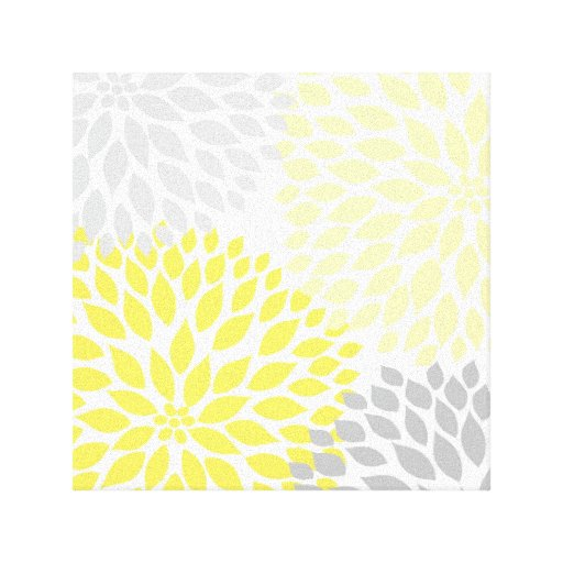 yellow and gray dahlia square wall art gallery wrap canvas. Black Bedroom Furniture Sets. Home Design Ideas