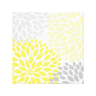 Yellow and Gray Dahlia Square Wall Art Canvas Print