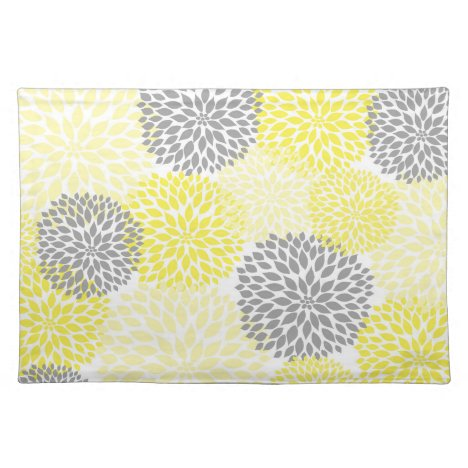 Yellow and Gray Dahlias Mums placemat