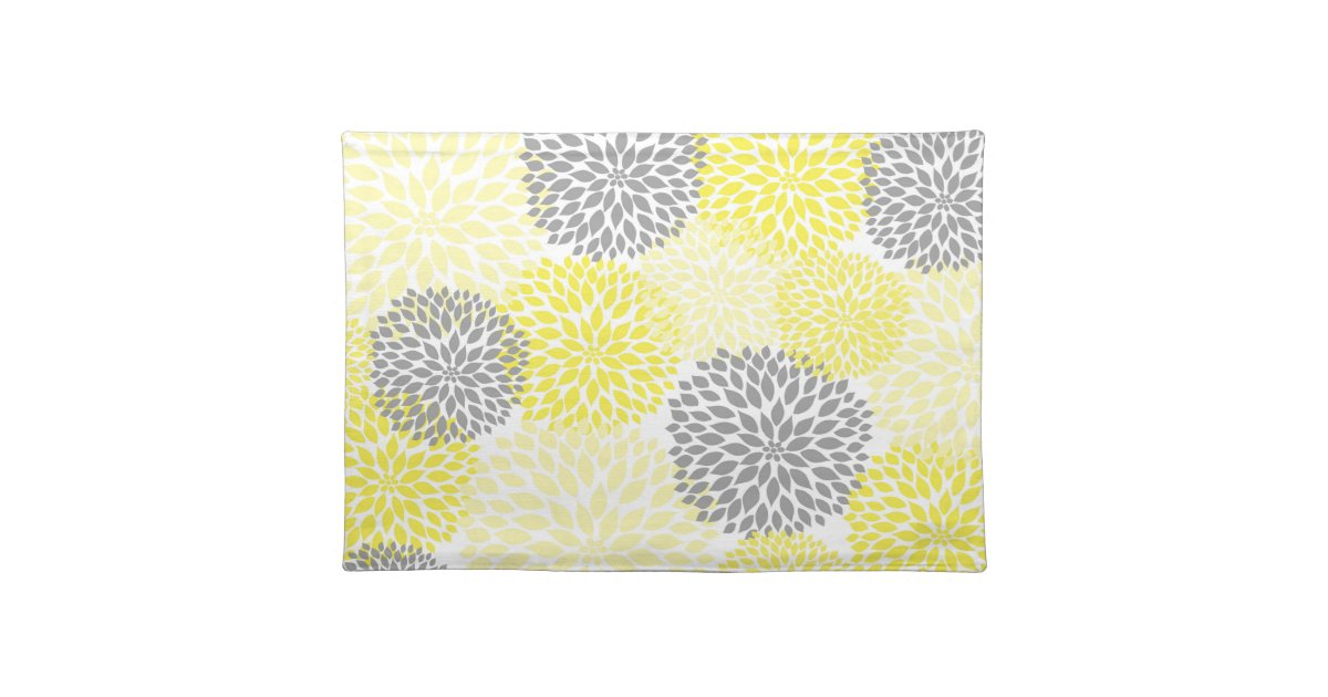 Yellow And Gray Dahlias Mums Placemat Zazzle Com
