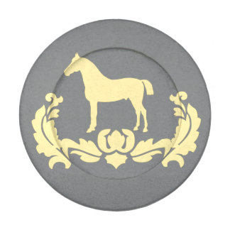 Yellow and Gray Damask Horse Button Covers