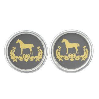 Yellow and Gray Damask Horse Cufflinks