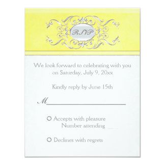 Yellow and Gray Damask Reply Card