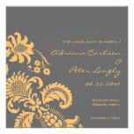 Yellow and Gray Damask Save the Date Custom Invitation