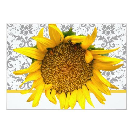 Yellow and Gray Damask  Wedding Card