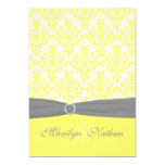 Yellow and Gray Damask Wedding Invitation