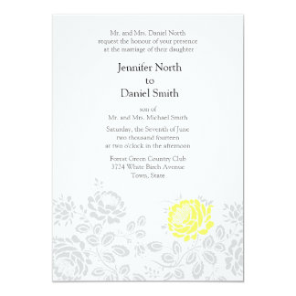 Yellow And Gray Damask Wedding Invitations