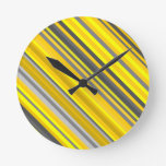 [ Thumbnail: Yellow and Gray Diagonal Lines/Stripes Pattern Round Clock ]
