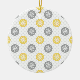 yellow and gray Doodle Holiday Icons Ceramic Ornament