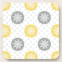 yellow and gray Doodle Holiday Icons Coaster