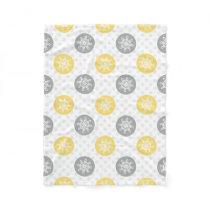 yellow and gray Doodle Holiday Icons Fleece Blanket