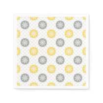 yellow and gray Doodle Holiday Icons Paper Napkin