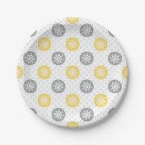 yellow and gray Doodle Holiday Icons Paper Plate