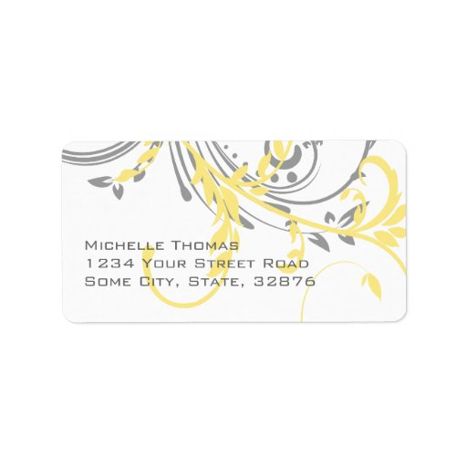 Yellow and Gray Double Floral Return Address Address Label