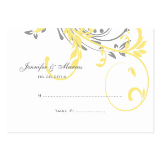 Yellow and Gray Double Floral Seating Card Large Business Cards (Pack Of 100)