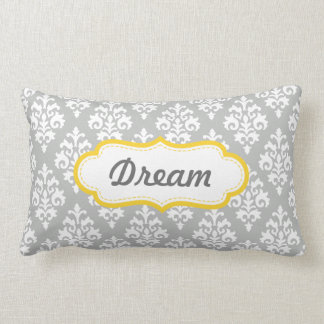 Yellow and Gray Dream Damask Pattern Throw Pillows