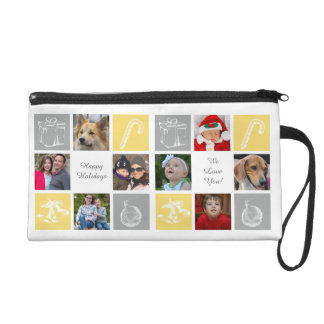 yellow and gray eight photos collage wristlet