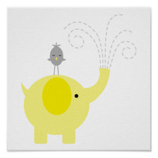 Yellow and Gray Elephant and Bird Nursery Poster