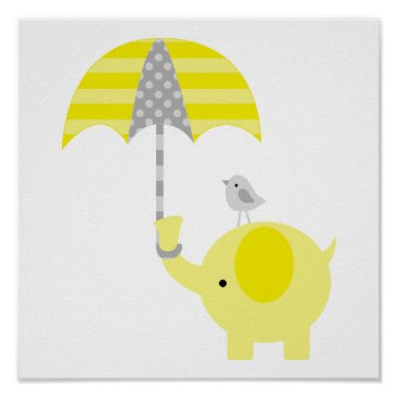 heartlocked Yellow and Gray Elephant and Bird Nursery Poster