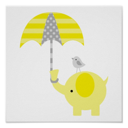 yellow and gray elephant and bird nursery poster zazzle