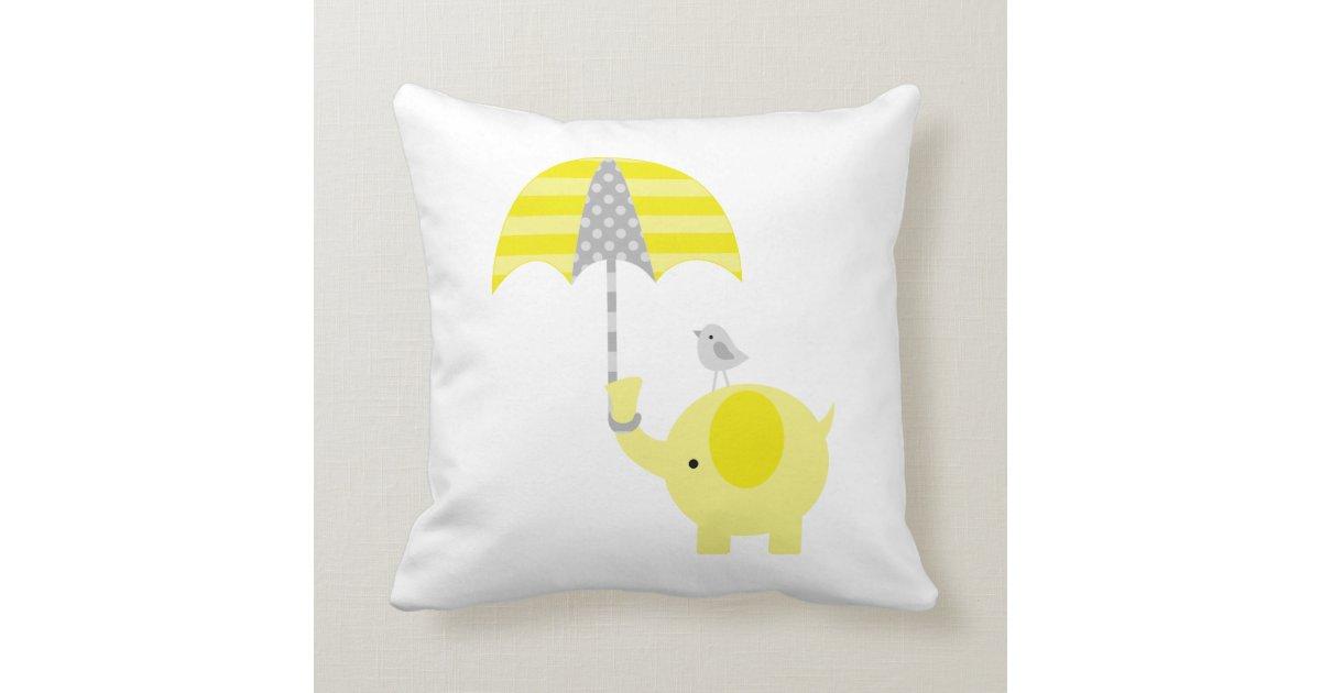 Grey Elephant Throw Pillow : Yellow and Gray Elephant and Bird Throw Pillow Zazzle