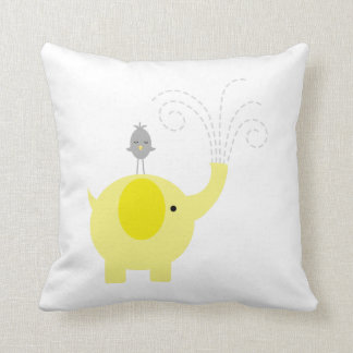 Yellow and Gray Elephant and Bird Throw Pillow