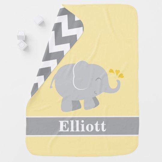 Yellow and Gray Elephant   Baby Boy Monogram Baby Blanket ...