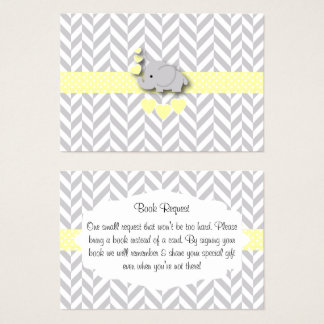 Yellow and Gray Elephant Baby Shower Book Request Business Card