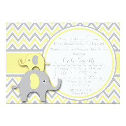 Yellow gray chevron baby shower invitations announcements zazzle yellow and gray elephant baby shower invitation filmwisefo Images