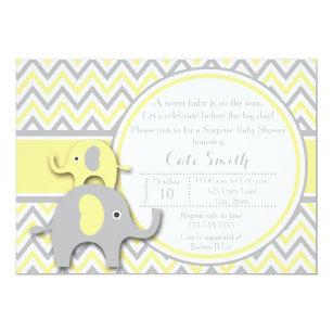 Elephant Yellow Gray Baby Shower Invitations Zazzle
