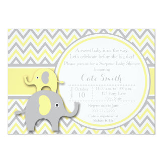 Yellow and Gray Elephant Baby Shower Invitation