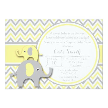 Toddler & Baby themed Yellow and Gray Elephant Baby Shower Invitation