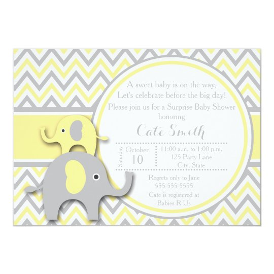 Yellow and gray elephant baby shower invitation zazzle yellow and gray elephant baby shower invitation filmwisefo