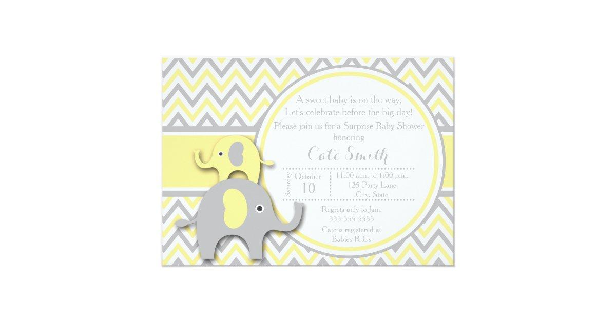 yellow and gray elephant baby shower invitation zazzle
