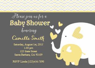 Elephant yellow gray baby shower invitations zazzle yellow and gray elephant baby shower invitation filmwisefo