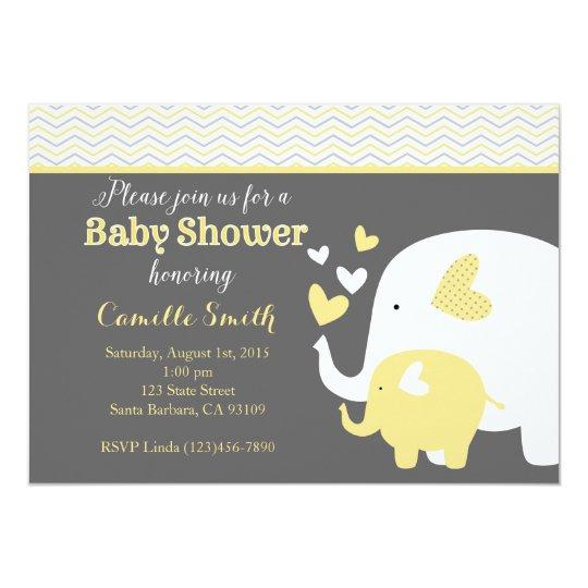 Yellow and gray elephant baby shower invitation zazzle yellow and gray elephant baby shower invitation filmwisefo