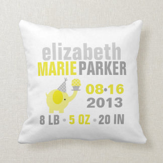 Yellow and Gray Elephant Birth Announcement Pillows