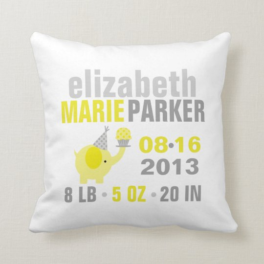 Yellow and Gray Elephant Birth Announcement Throw Pillow