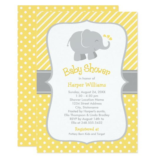 Yellow And Gray Elephant Modern Baby Shower Invitation