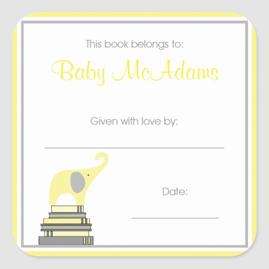 Yellow and Gray Elephant on Books Book Plate