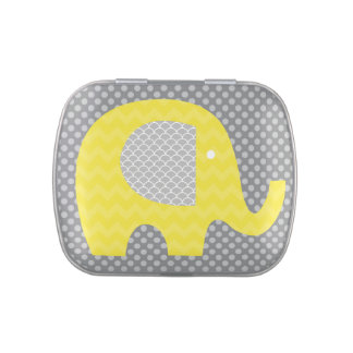 Yellow and Gray Elephant Tins and Jars w. Candy Jelly Belly Candy Tins