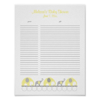 Yellow and Gray Elephants Baby Shower Gift List