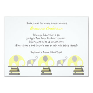 Yellow and Gray elephants on books baby shower Card